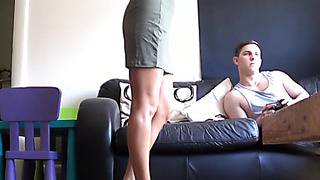 Blonde MILF mom flashes and fuck not her son