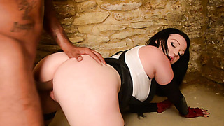 Harmony Reigns sucks black cock and takes BBC in her cunt