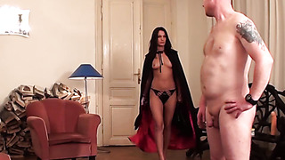 White slave guy wanks on high heels of brunette MILF