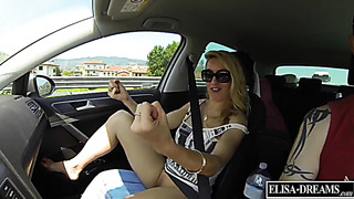 Blonde titty MILF flashes her boobs and pussy for drivers on highway