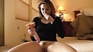 Passionate girlfriend toys her pussy with big toy