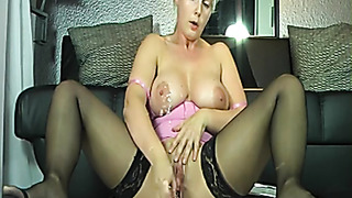 Natural tits MILF masturbates and squirts on cam