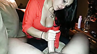 CFNM handjob from busty brunette