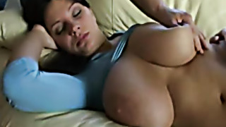 Busty chick groped while sleeping