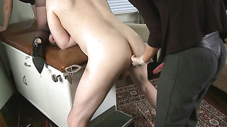 Threesome domination in office, boss fucked in ass