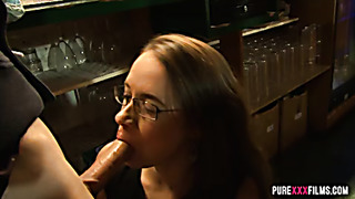 Cubby Olga Cabaeva takes fat cock in bar
