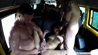 CzechBangBus porn video with petite brunette fucked right in bus