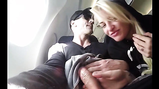 Incredible airplane blowjob and jerking