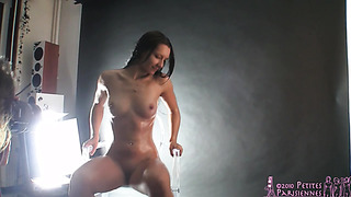 Backstage with skinny babe and her solo with sex toy