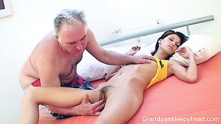 Teeny pale skin angel with hairy pussy fuck while she is sleeping