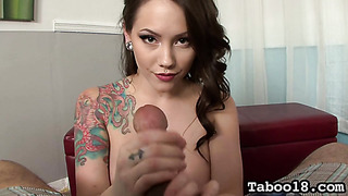Handjob and facial cumshot from tattooed babe