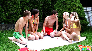 Hardcore party in the back yard with beautiful teens