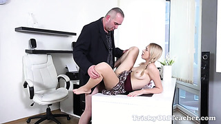 Horny 18 years old schoolgirl fucked by old teacher right on desk