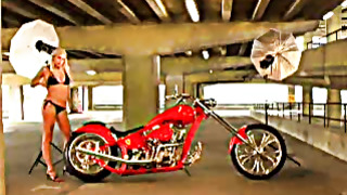 Funny video with blond hotiie and red motorcycle